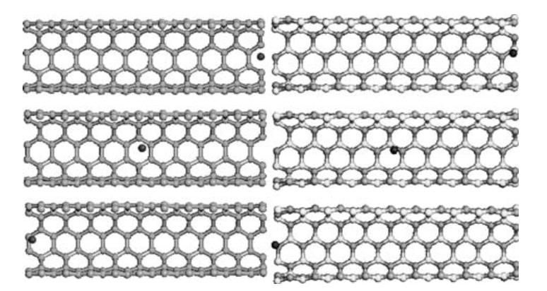 Neon atoms oscillating inside carbon and boron nitride nanotubes: a fully atomistic molecular dynamics investigation