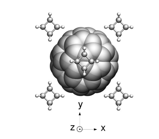 Rotational dynamics and polymerization of C60 in C60-cubane crystals: A molecular dynamics study