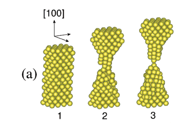 On the structural and stability features of linear atomic suspended chains formed from gold nanowires stretching