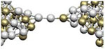 Experimental realization of suspended atomic chains composed of different atomic species