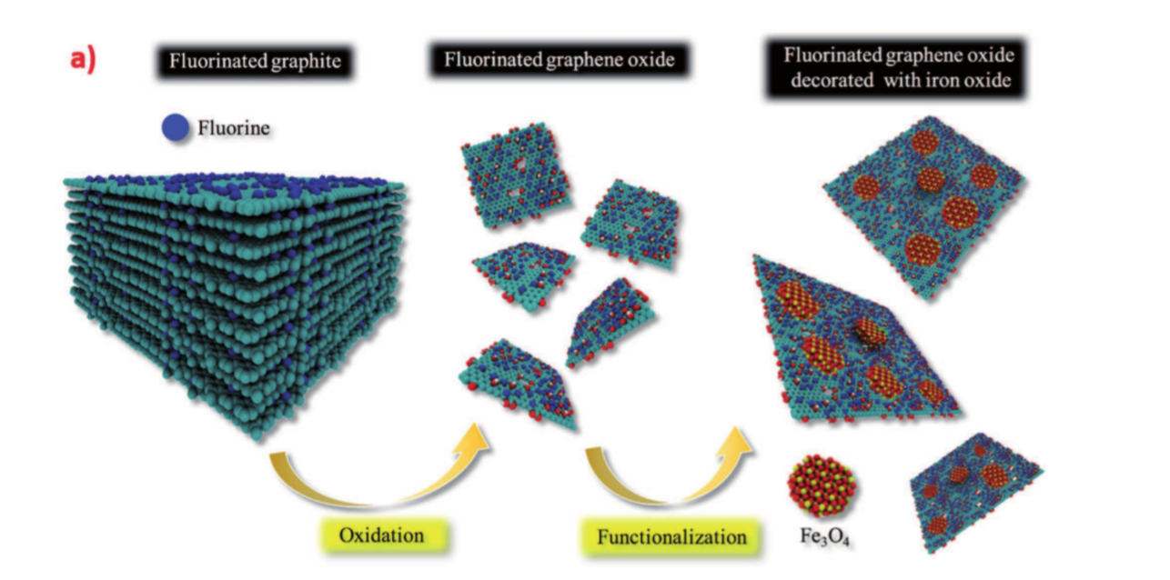 Multifunctional Hybrids Based on 2D Fluorinated Graphene Oxide and Superparamagnetic Iron Oxide Nanoparticles