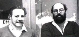 Professores Stephenson Caticha Ellis e Lisandro Pavie Cardoso em foto de 1984 na porta do LPCM.