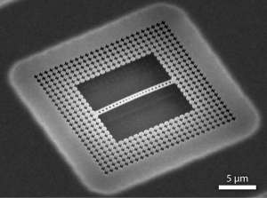 Figure 1. SEM of the silicon nanobeam device used in this experiment. The periodicity of the holes in beam in the center allows for strong confinement of photons and phonons. The cross shaped holes surrounding the beam have phononic bandgap at 4 GHz (the mechanical frequency of our oscillators), further confining the mechanical energy of our structures.